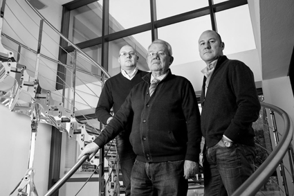 Taddeo (Production), Giorgio (Finance) and Mattia (Sales & Marketing)