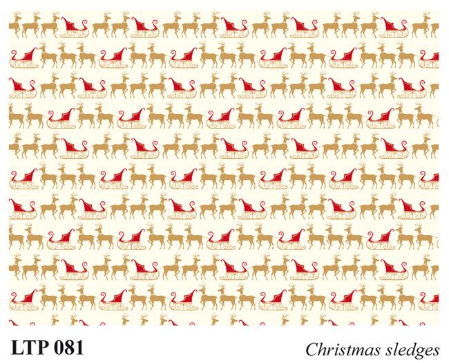 Christmas letterpress decorative papers LTP 081 Christmas sledges